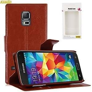 kemile flip lujo cubierta del soporte de la bolsa de tarjeta de crédito cartera tand cuero para amung galaxia 5 mini- , Brown