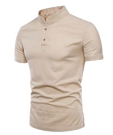 5a0270ffa1dc MMCP Men Solid Color Cotton Linen Summer Short Sleeve Comfy Henley Shirts  Tee T-Shirt