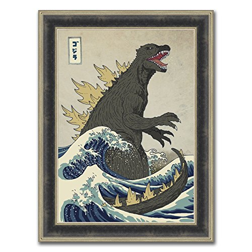 Tangletown Fine Art Godzilla Arises Framed Painting Print in Acrylic Finish