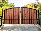 Wooden Wrought Iron Driveway Gate Kit - Black Arched Redwood Dual & Solo Swing Security Gates - Free Shipping