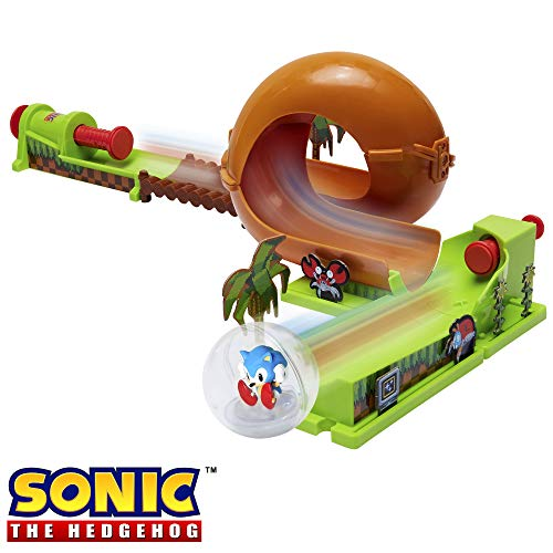 Sonic The Hedgehog Pinball Green Hill Zone Pinball Track Play Set, 9Piece, with Looping Action & Automatic Bumper! Exclusive Sonic Sphere Included, for Ages 3+ (Sonic Action Figure Set)