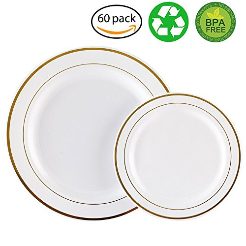 60PCS Heavyweight White with Gold Rim Wedding Party Plastic Plates,Dinnerware Sets,30-10.25inch Dinner Plates and 30-7.5inch Salad Plates -WDF (White/Gold (Gold Rim Dinner)