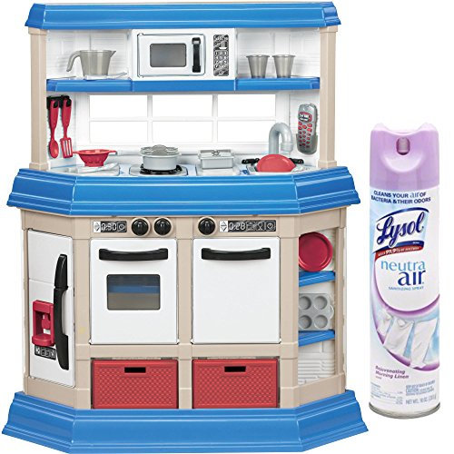 American Plastic Toys Blue/White Cookin Kitchen Play Set with Realistic Burners with Lysol Sanitizing Spray by American Plastic Toys