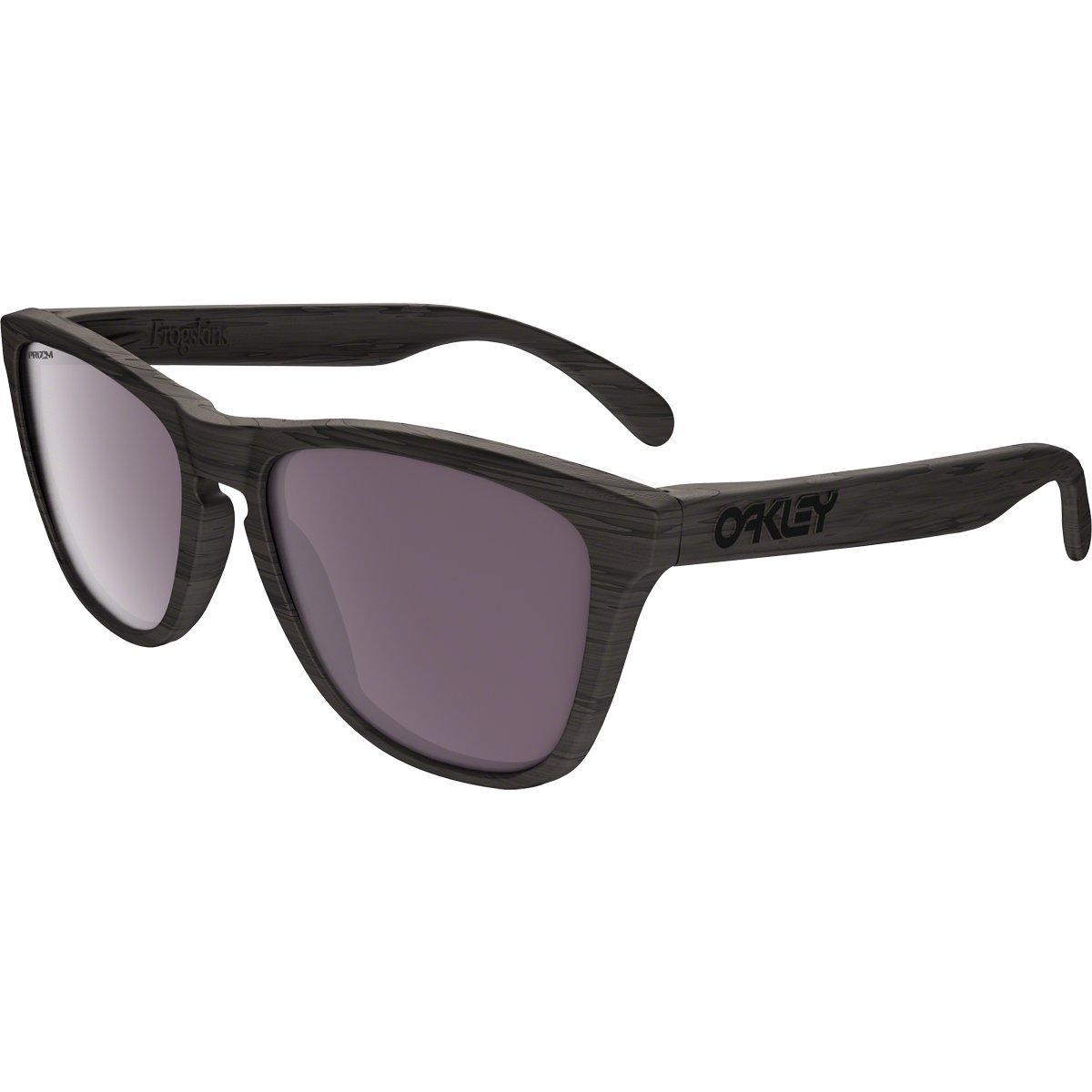 Oakley Men's Frogskins Polarized Iridium Square Sunglasses, Woodgrain, 55 mm