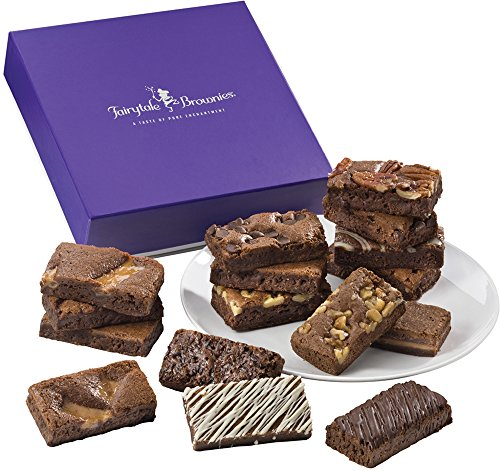 Fairytale Brownies Sprite 16 Gourmet Food Gift Basket Chocolate Box - 3 Inch x 1.5 Inch Snack-Size Brownies - 16 Pieces