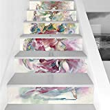 Stair Stickers Wall Stickers,6 PCS Self-adhesive,Watercolor,Oriental Dance Theme Young Girl Performing in Traditional Costume Fantasy Figure,Multicolor,Stair Riser Decal for Living Room, Hall, Kids Ro