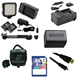 Sony HDR-PJ380 Camcorder Accessory Kit includes: SDNPFV70NEW Battery, SDM-109 Charger, KSD48GB Memory Card, SDC-27 Case, HDMI6FMC AV & HDMI Cable, LED-70 On-Camera Lighting