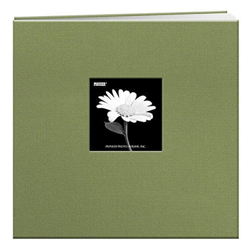 Pioneer 12-Inch by 12-Inch Cloth Cover Postbound Memory Book with Window, Sage - Top Postbound