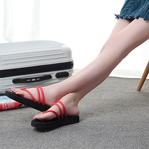 Eleganti Donna Beautyjourney Mare Elegant Rosso Estive Estivi Strass Bassi Infradito Con Pantofole Sandali Scarpe Ciabatte qF4EnSEx