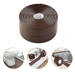 Leegoal Tub and Wall Caulk Strip, PE Self Waterproof Adhesive Sealing Tape Caulk Sealer for Shower Toilet Bathtub Wall Sealant 38mm Width X 3.2M Lenth (White)