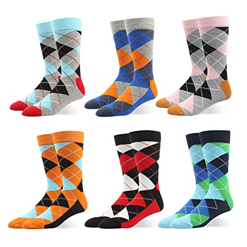 RIORIVA Mens Cotton 6 Pack Dress Socks Bright Colorful Argyle Shoe Size 12-15 from Rioriva