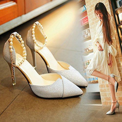 Xue Qiqi Chica Días Multa y el Alto-Heel Shoes Punta ranurada de luz Correa versátil y Biselado Sandalias Silver