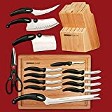 Miracle Blade III World Class 17-Piece Knife Set with Cutting Board and Knife Block