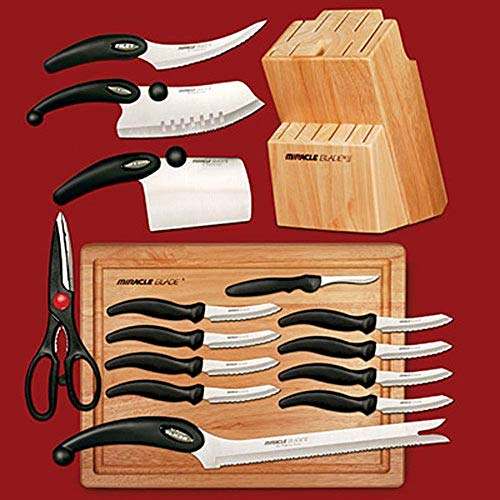 Miracle Blade III World Class 17-Piece Knife Set with Cutting Board and Knife Block ()