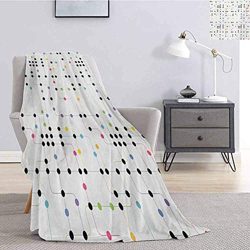 Colorful Comfortable Large Blanket Metro Scheme with Vivid Colored Intricate Lines and Dots Urban Life Transportation Microfiber Blanket Bed Sofa or Travel W91 x L60 Inch Multicolor (Bed Metro Sofa)