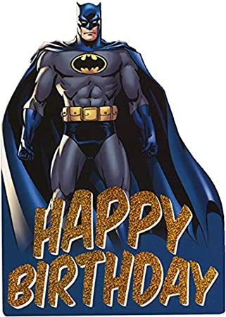 Paper House Batman with Blue Cape Die Cut Foil Superhero Birthday Card for Kids