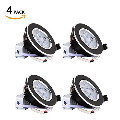 B-right Pack of 4 Units 3-inch 5W Recessed Dimmable LED Downlight, 5000K Cold White, 35° Beam Angle, 400lm, 35W Halogen Equivalent, with 110V Transformer (Black) (Right Unit)