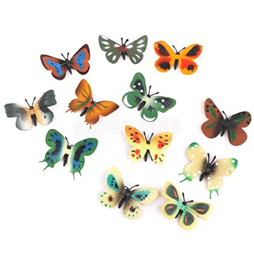12pc Plastic Butterfly Bug Insect Animal Figures Kids Party Bag Fillers Toy by uptogethertek