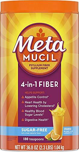 Metamucil, Psyllium Husk Powder Fiber Supplement, Plant Based, Sugar-Free 4-in-1 Fiber for Digestive Health, Orange…