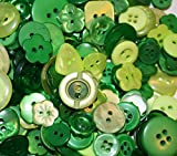 "Fancy & Decorative {Assorted Sizes w/ 1, 2, 4 Holes} 100 Pack of ""Flat & Shank"" Sewing & Craft Buttons Made of Acrylic Resin w/ Festive Fun Spring Seasonal St. Patrick's Day Design {Green}"