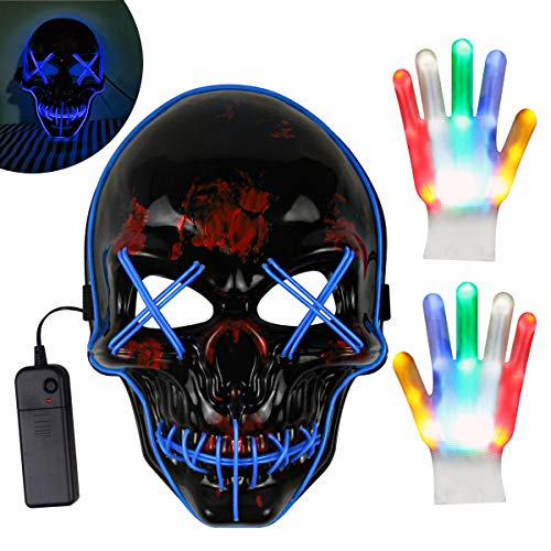 Kithouse LED Purge Mask + LED Gloves Light Up Scary for Adult Kids Halloween Costumes (Best Halloween Masks 2019)
