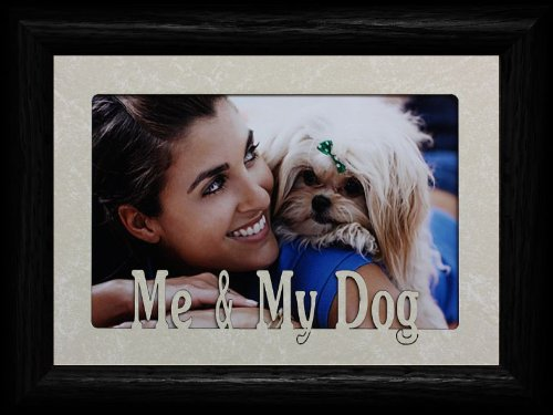 PersonalizedbyJoyceBoyce.com 5x7 ME & MY DOG ~ Landscape Cream Marble Mat with BLACK Picture Frame ~ Holds a 4x6 or cropped 5x7 Photo ~ Wonderful Keepsake Gift for a Beloved Dog!