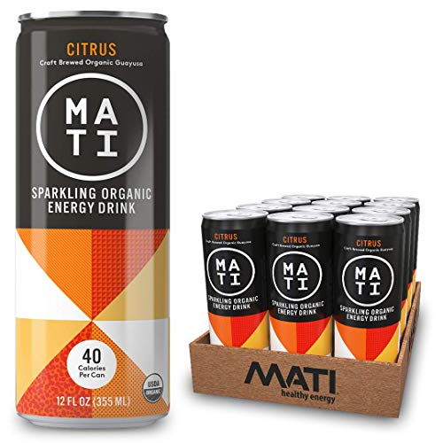 (MATI Sparkling Organic Energy Drink, All Natural Craft Brewed Guayusa, Low Calorie, Refreshing Not Sweet, Citrus, 12 Fl Oz Cans (Pack of 12) Plant Based Energy, NON-GMO, Vegan, Antioxidants)