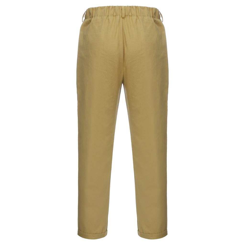 Balakie Mens Simple Fashion Pants Cotton Linen Solid Casual Relaxed Trousers