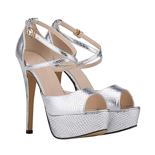 Haodasi Ladies New Platform Fish Mouth High Heel Sandals Party Club Buckle Single Shoes 3fIX9