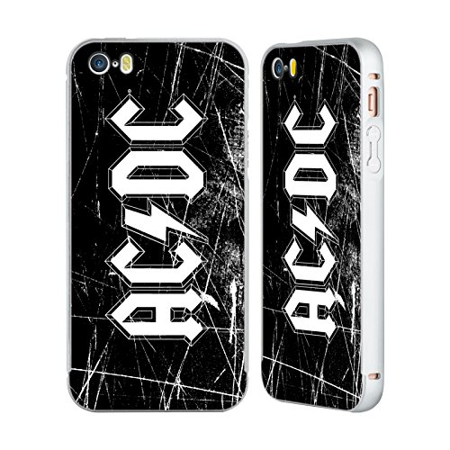 Officiel AC/DC ACDC Grunge Blanc Logo Argent Étui Coque Aluminium Bumper Slider pour Apple iPhone 5 / 5s / SE
