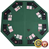 New 48'' Green Octagon 8 Player Four Fold Folding Poker Table Top & Carrying Case