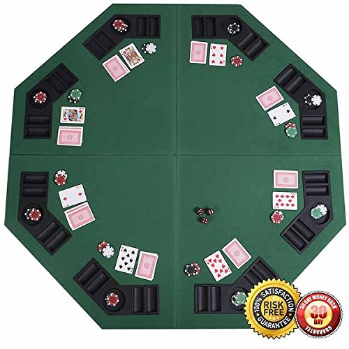 New 48'' Green Octagon 8 Player Four Fold Folding Poker Table Top & Carrying Case by MTN Gearsmith