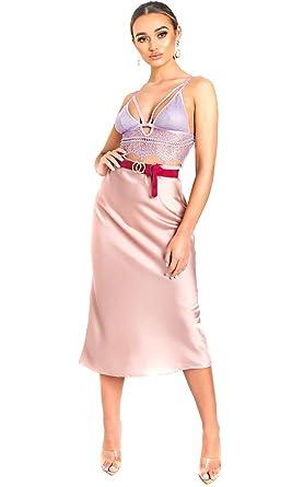 Ikrush Womens Opa Satinado Fada Midi in Pink Size L: Amazon.es ...