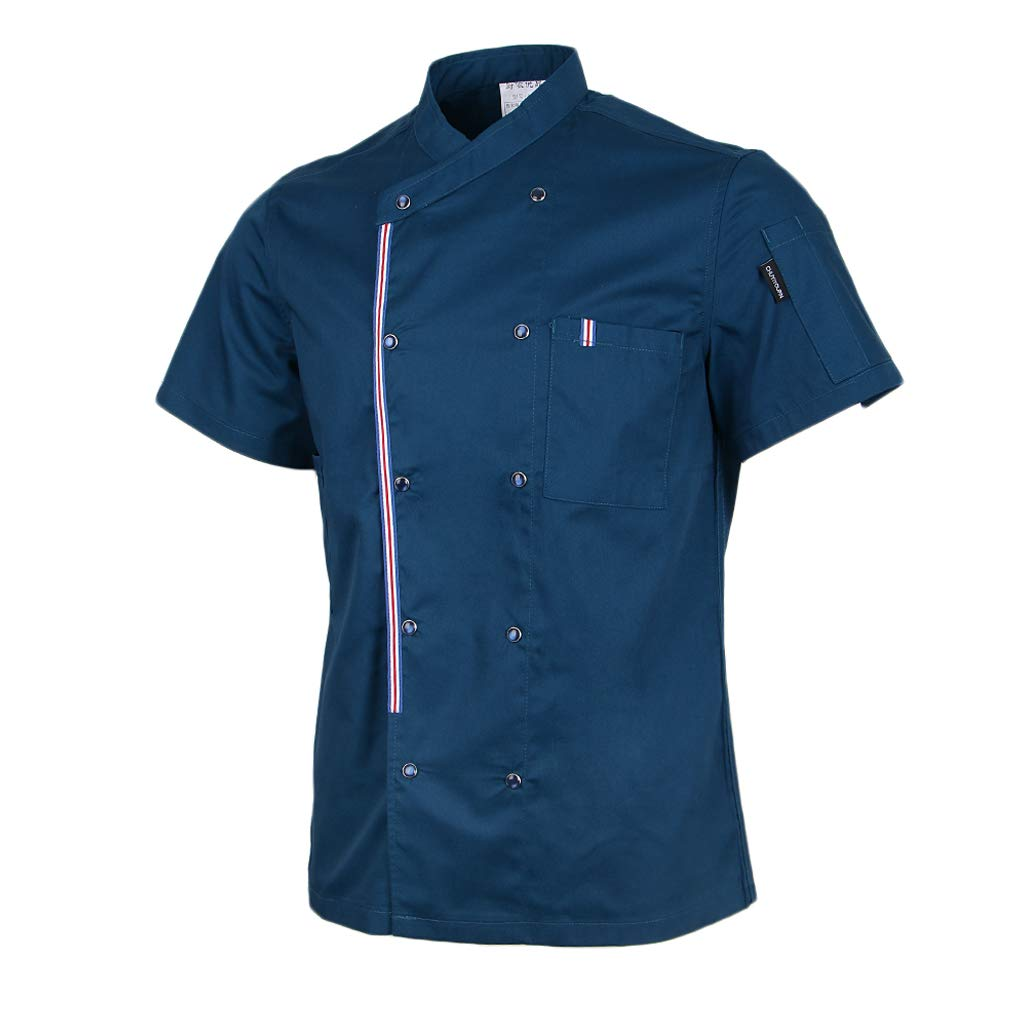 Homyl Solid Double Breasted Chef Jackets Coat Short Sleeves Shirt Kitchen Uniforms for Women Men - Blue, 3XL