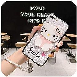 SHILINWEI Funda para Samsung Galaxy M30 M20 M10 A80 A70 A60 A50 A40 A30 A20 A10 Daisy Camellia Flower Kitty Mirror Lace con Correa, for Samsung a80, Gato Blanco