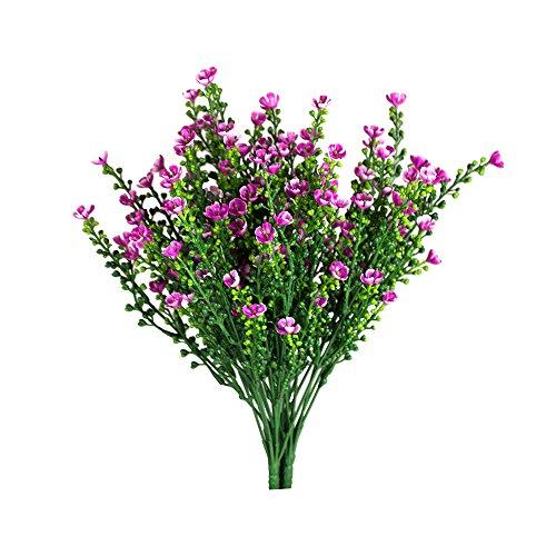 Artificial Flowers Plants, 4Pcs Faux Plastic Decorative Shrubs Plants Lifelike Bouquet Simulation Greenery Bushes Indoor Outside Home Garden Office Wedding Decor, Pink… by Rekome