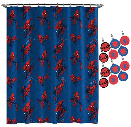 (Jay Franco Marvel Spiderman Spidey Crawl Shower Curtain & 12-Piece Hook Set & Easy Use - Kids Bath Features Spiderman (Official Marvel Product))