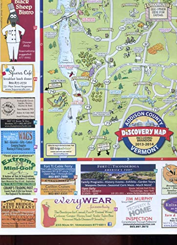 (ADDISON COUNTY VERMONT DISCOVERY MAP(S) 2013-2014 /COLORFUL/FOR WALL HANGING+++)
