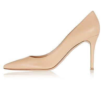 e34c463e57d Eldof Women s High Heel Pumps Classic 3.2in Patent Pointed Toe Stilettos  8cm Wedding Party Dress