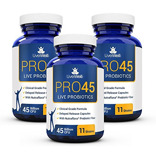 PRO45: #1 Clinical Grade Probiotic Formula, 45 Billion CFU, 11 Patented strains. Dairy Free. Delayed Release Veggie caps. Promotes Immune and Digestive Health. 90 Day Supply Review