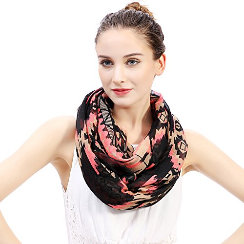 (Aztec Tribal Print Infinity Loop Women's Scarf Light Weight (Neon Pink and Black))