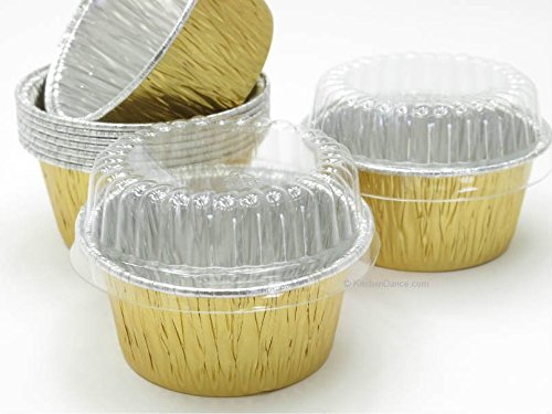 Disposable Aluminum Gold 4 oz. Baking Cups/ramekins with Clear Plastic Lids #1110P (1,000) by AGIANT