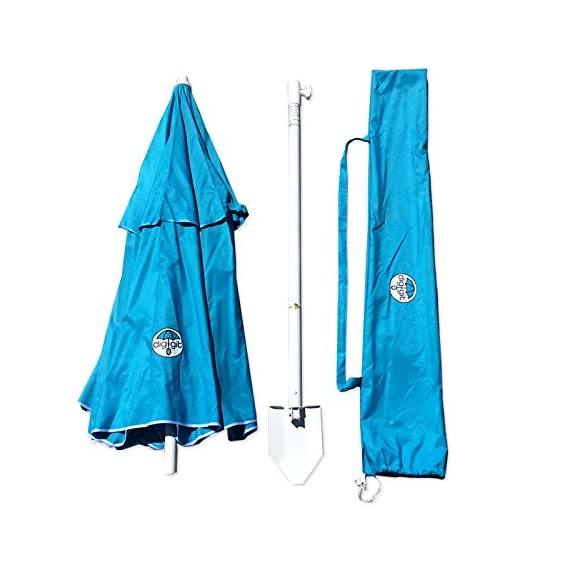 dig-git Beach Umbrella w/Integrated Anchor - Aqua Blue - Heavy Duty 6 1/2 ft. Dia. with vented airflow system 200 HR UV fabric Aluminum/Steel construction corrosion resistant 8 mm Fiber glass frame with Stainless Steel Hardware - shades-parasols, patio-furniture, patio - 51aMRnwRhrL. SS570  -