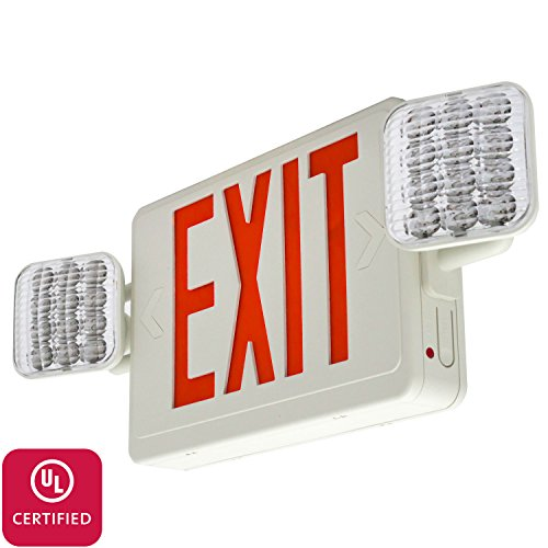 LFI Lights - Hardwired Red LED Combo Exit Sign Emergency Light - COMBOR2 (Sign Light Fixtures)