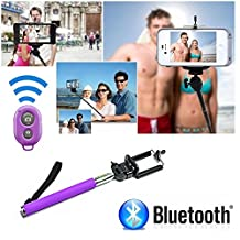 [Selfie Stick] with Bluetooth Remote for [iPhone 6] iPhone 6 Plus, 5S, 5C, 5, 4s, 4 Selfy Pole Pod Self Portrait Monopod for iPhone, Android, iPod, Arm Extender Rod comes with Cell Phone Tripod Adapter Mount, Also for Samsung Galaxy S6 S5 S4 S3 S2 Note 2 - Davoice® (Purple)