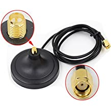 HUACAM HCM35N Wi-Fi Antenna Magnetic Stand Base RP SMA Connector with 3m Extension Cable