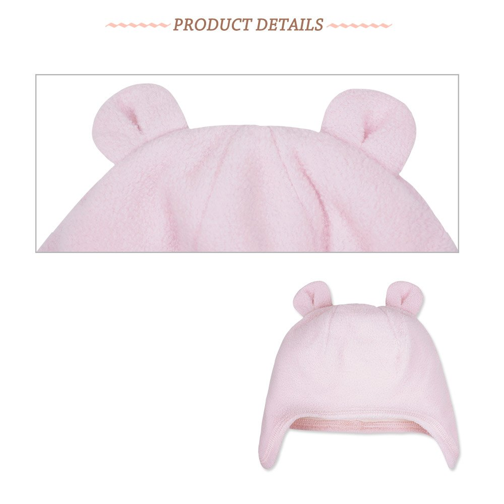 100/% Polyester and Cotton Baby Bear Ear Hat Set Keepersheep Double Layered Animal Ear Hat 3-6 Months