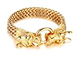 Mealguet Jewelry Fashion Gold Plated Stainless Steel Double Opposite Dragon Franco Link Chain Bracelets for Men Boys,8.8''