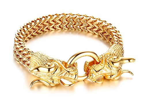 Mealguet Jewelry Fashion Gold Plated Stainless Steel Double Opposite Dragon Franco Link Chain Bracelets for Men Boys,8.8""