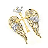 Luxurman 14K Gold Unique Angel Wings Natural 0.4 Ctw Diamond Cross Pendant With Crown